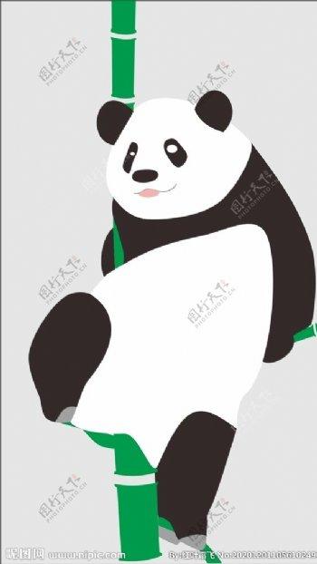 熊猫爬竹子图片