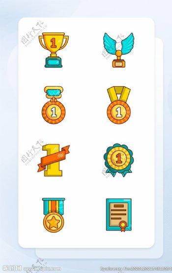 黄绿色线性填充奖牌奖章类矢量图图片