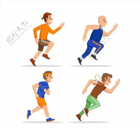 跑步健身男子矢量图片