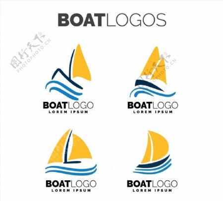 黄色帆船标志图片