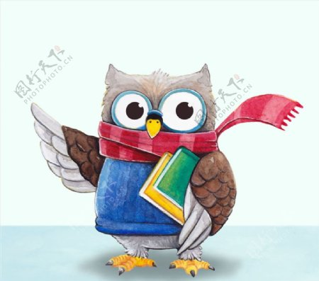 抱书的卡通猫头鹰图片