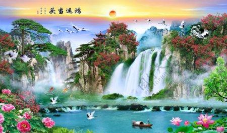 背景墙山水风景山水画意境图片