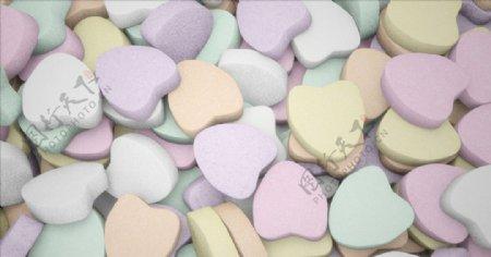 C4D模型爱心糖果口香糖奶片图片