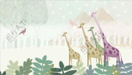 水彩画长颈鹿小鸟背景墙图片
