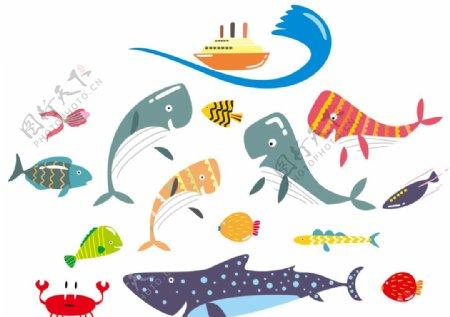 扁平风手绘海洋动物图片