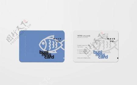 蓝色名片卡片工牌高档样机图片