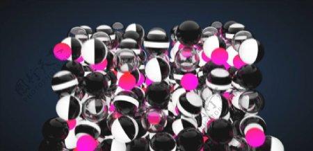C4D模型动画落地的玻璃珠子图片