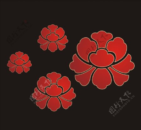 矢量牡丹花朵图片