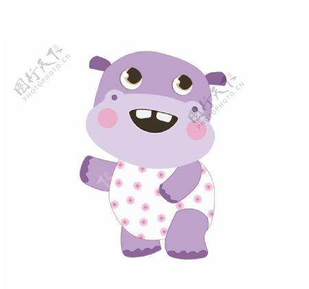可爱的紫色河马图片