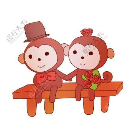 猴子情侣小动物插画图片