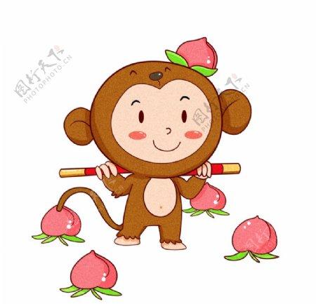 猴子桃子插画图片