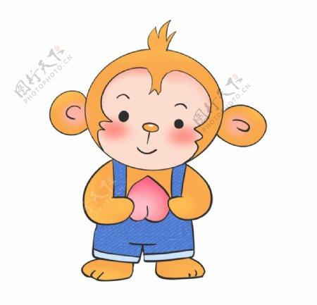 原创手绘吃桃子的猴子图片