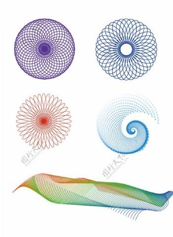 AI混合花纹及科幻曲线图片