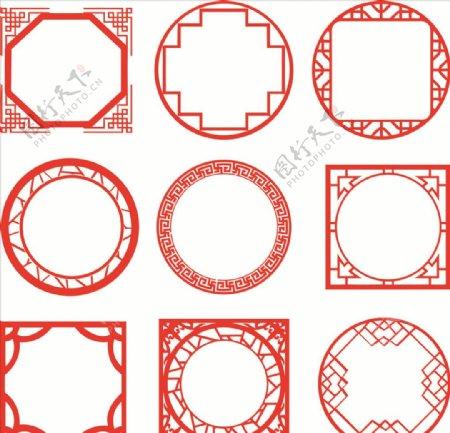 圆形中式古典边框设计素材花纹图片