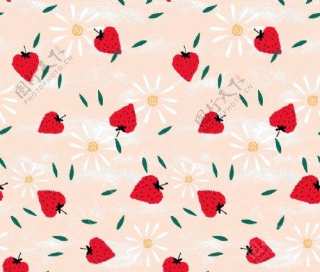 草莓小碎花图片
