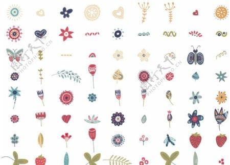 可爱浪漫线描花卉图片
