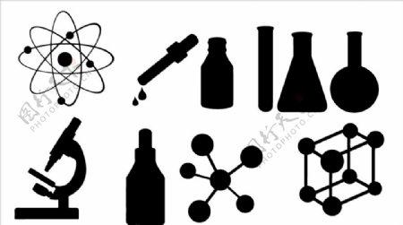 科研实验小元素矢量剪影图片