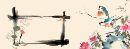 牡丹花国画素材图片