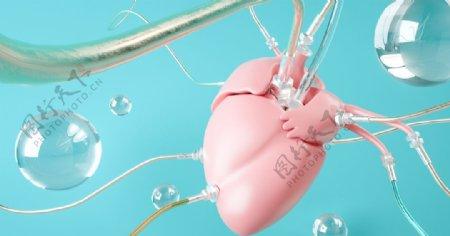 C4D心脏立体图片