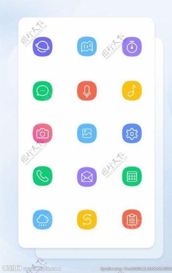 彩色线性手机主题矢量icon图图片