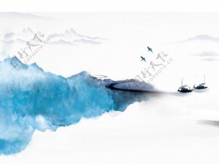 水墨山水屏中式图片
