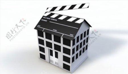 C4D模型场记板房子图片