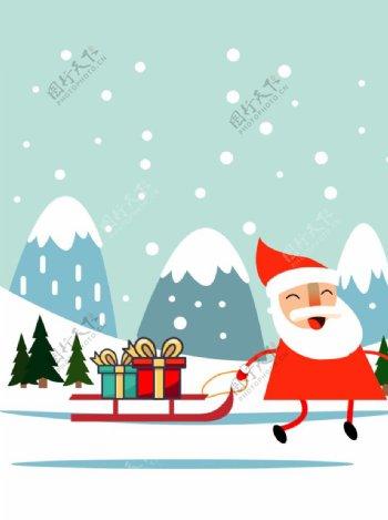 圣诞节圣诞老人松树雪地图片
