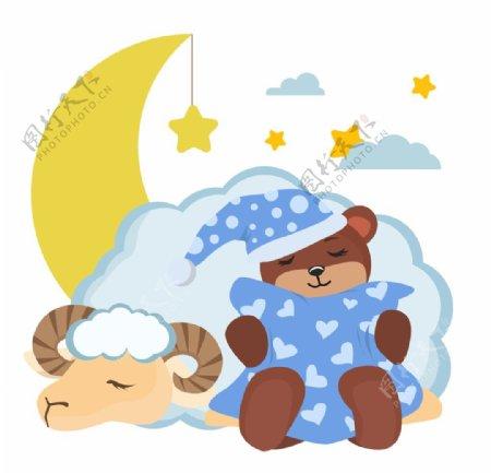 卡通绵羊睡觉插画图片