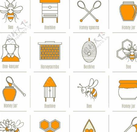 手绘蜂蜜图标图片