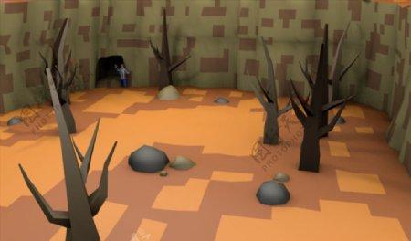 C4D模型山谷树木图片
