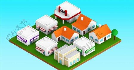 C4D模型房子低面体图片