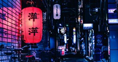 红灯笼城市夜景灯光风景图片