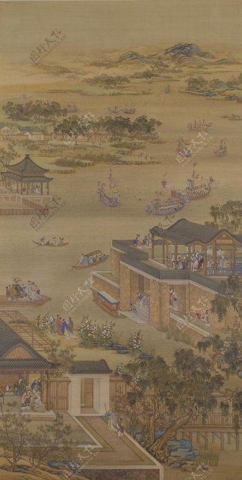 雍正十二月行乐图五月竞舟图片