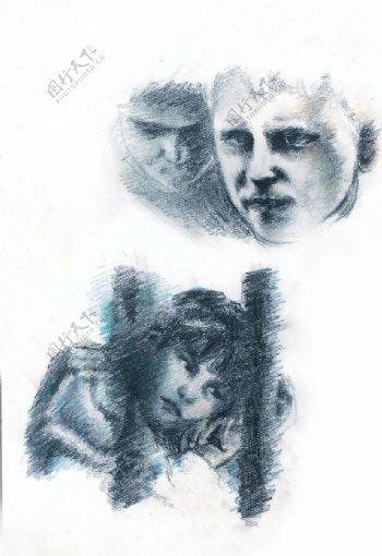 手绘素描彩铅欧美儿童图片