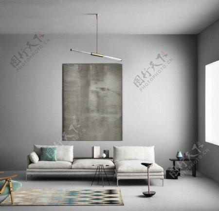 现代北欧客厅设计灰色墙面图片