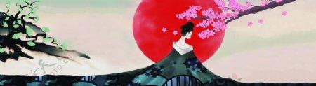 樱花长袍古典美女水墨彩绘装饰画图片
