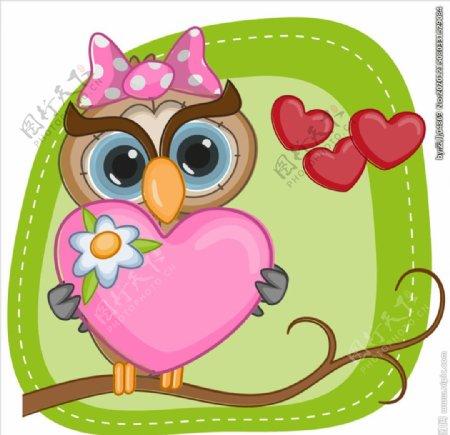 手绘卡通猫头鹰和爱心图片