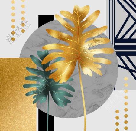 金色叶子晶瓷装饰画图片