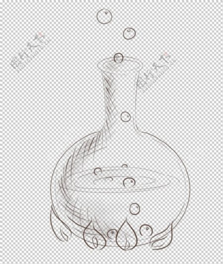平底烧瓶化学实验器材PNG图片
