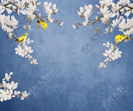 玉兰花鸟背景墙图片