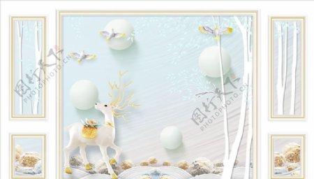 浮雕花鹿鸽子背景墙图片