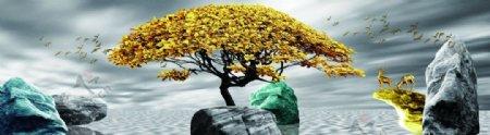 风水石头发财树床头画图片