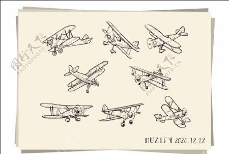 8款入飞机素描画图片
