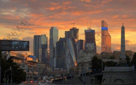 高楼大厦建筑夕阳风景图片