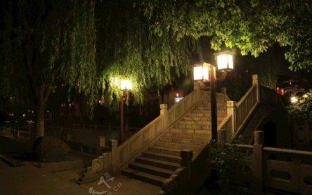夜景柳树石桥图片