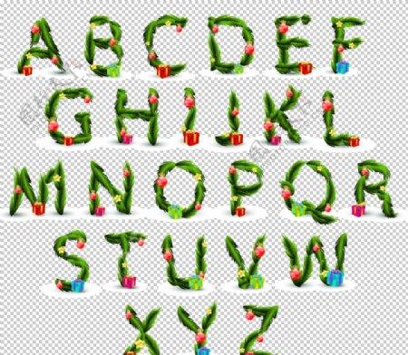 圣诞元素矢量字母积雪效果图片