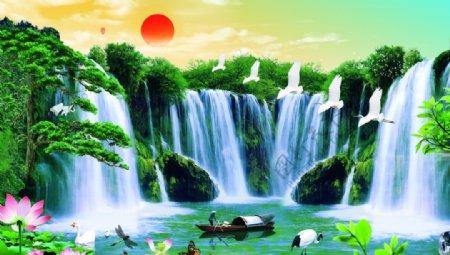 山水画背景墙日出图片