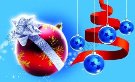 圣诞树素材树带蓝底图片