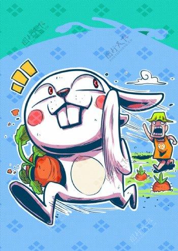 兔子时尚海报分层可爱图片