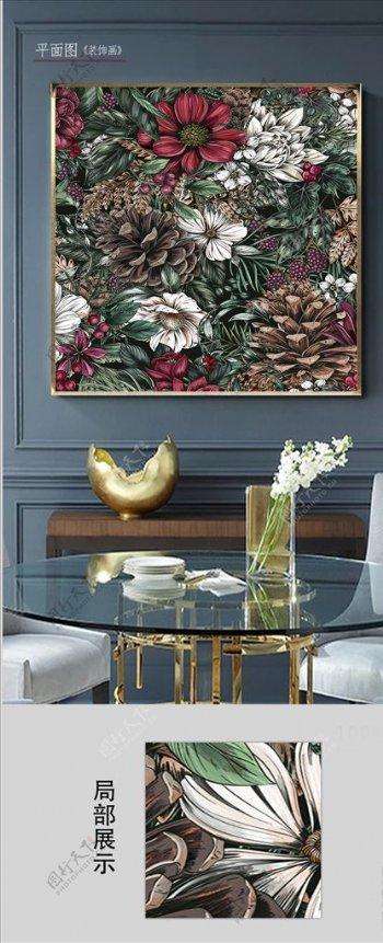 欧式复古花卉客厅装饰画图片